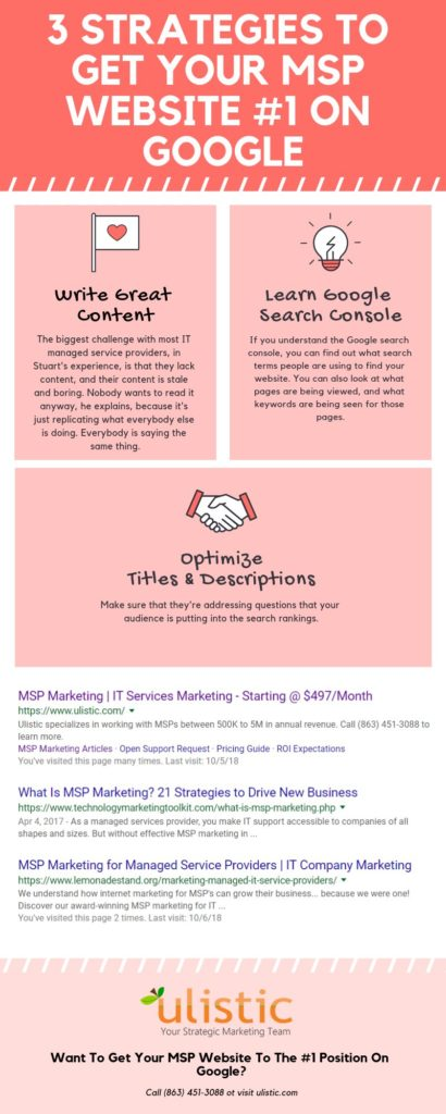 3 Strategies TO Get Your MSP Website #1 On Google